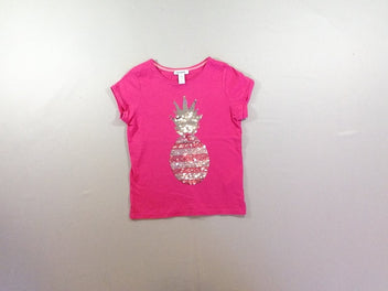 T-shirt m.c rose vif sequins réversibles ananas