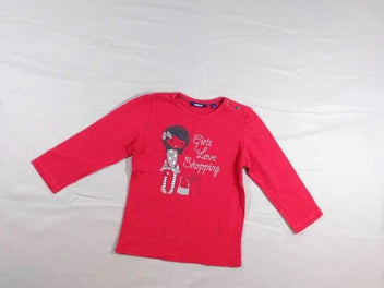 T-shirt m.l rose vif « Girls Love Shopping »