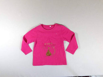 T-shirt m.l rose pois dorés chat sequins