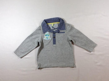 Polo m.l gris chiné ORC effet superposé denim
