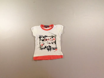 T-shirt m.c blanc effet superposé corail Fun