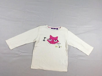 T-shirt m.l écru chat