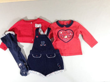 Salopette short velours côtelé bleu marine narval + gilet rouge + t-shirt + collants