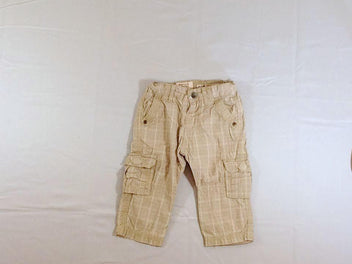 Pantalon beige carreaux