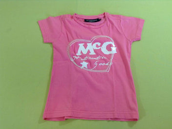T-shirt m.c rose vif coeur sequins