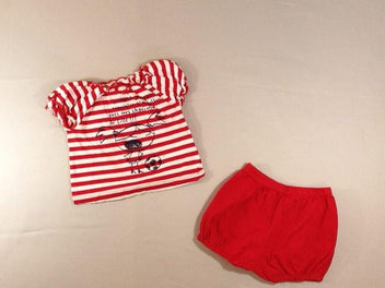 T-shirt m.c rayé blanc/rouge + short bloomer rouge