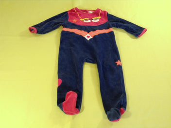 Pyjama velours bleu marine/rose vif « Super fille »