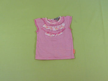 T-shirt m.c rayé rose volants