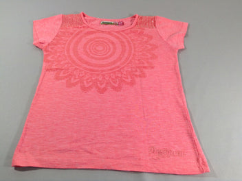 T-shirt m.c rose flammé strass sequins