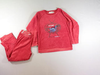 Pyjama 2pcs velours rouge dino
