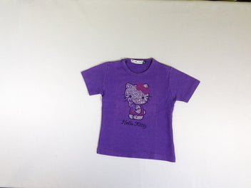T-shirt m.c mauve hello kitty strass