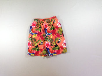 Maillot short orange feuilles toucans