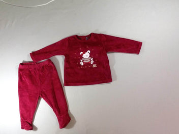 Pyjama 2pcs velours bordeaux ours