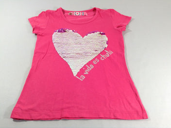 T-shirt m.c rose coeur sequins réversibles