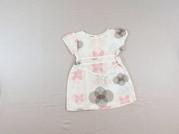 Robe m.c blanche ronds rose/gris