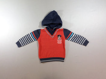 Pull col V à capuche Mickey orange rayé