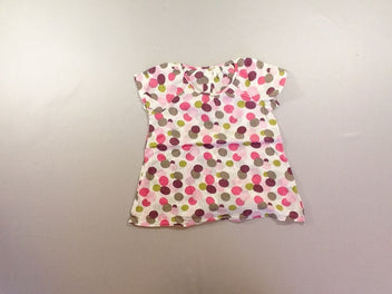 Blouse m.c blanc pois roses/mauves/verts/taupes