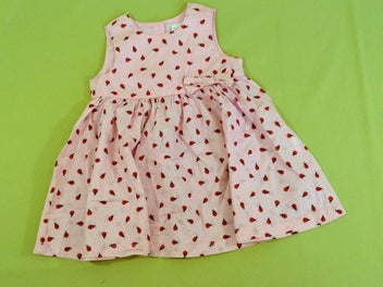 Robe s.m rose pois blancs coccinelles