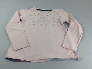 T-shirt m.l rose coeurs chat strass
