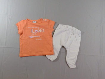 T-shirt m.c orange + legging blanc