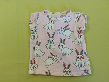 T-shirt m.c rose lapins blancs