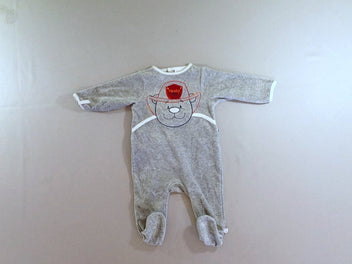 Pyjama velours gris ours