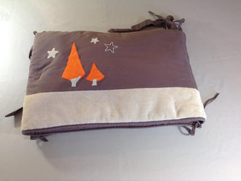 Tour de lit velours gris/orange Hibou Olli