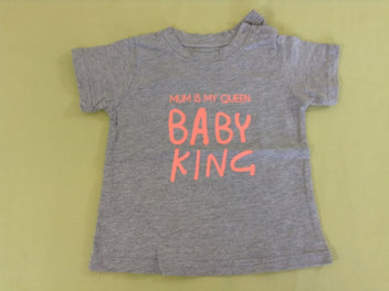 T-shirt m.c gris chiné « Mum is my queen, BABY KING »
