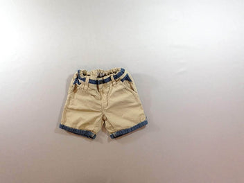 Short beige denim à revers