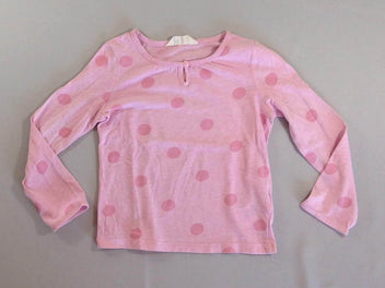 T-shirt m.l rose chiné pois