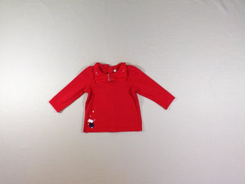 T-shirt m.l rouge col lapin