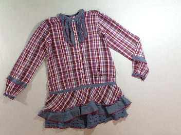 Robe m.l bordeaux à carreaux denim