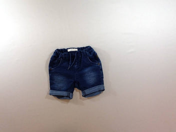Short molleton denim à revers