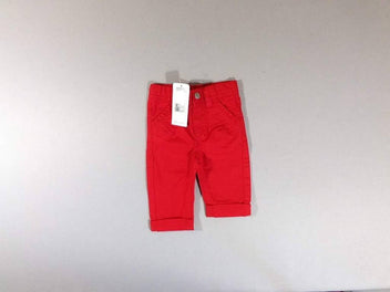 NEUF Pantalon rouge à revers