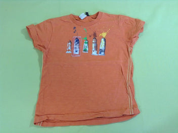 T-shirt m.c orange flammé peintures