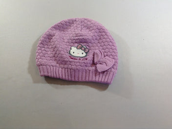 Bonnet mauve Hello Kitty doublé polar