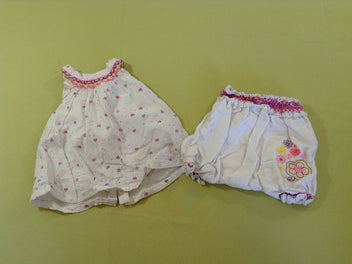 Robe s.m blanche coeurs mauves/roses/jaunes + bloomer