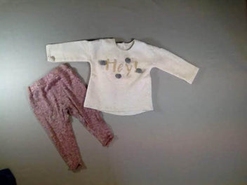 Sweat écru chiné pompoms Hey ! + Pantalon maille chiné