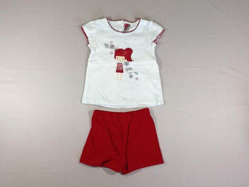 T-shirt m.c blanc flammé fille + short jersey rouge flammé