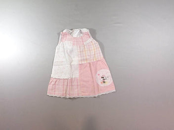 Robe s.m blanche à carreaux rose/jaune Minnie