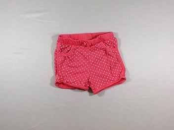 Short molleton rose vif pois