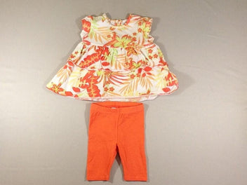 Robe m.c jersey blanc fleurs oranges + legging orange