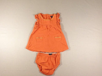 Robe s.m orange en coton + culotte
