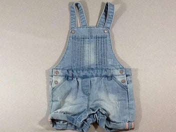 Salopette short en jean clair