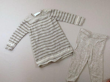 Robe-pull m.l gris chiné rayé + pantalon maille, 100% laine merinos, The little white company
