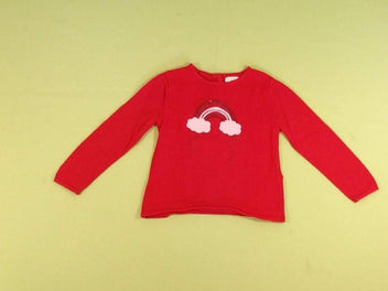 Pull rouge arc-en-ciel paillettes sequins
