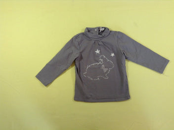 T-shirt col roulé gris lapin strass