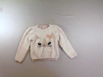 Pull duveteux blanc/rose chat