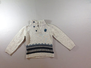 Pull beige chiné 5% laine Mountain Rescue