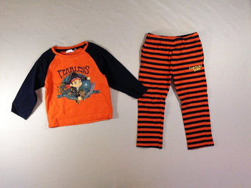 Pyjama 2pcs jersey orange/bleu Pirate